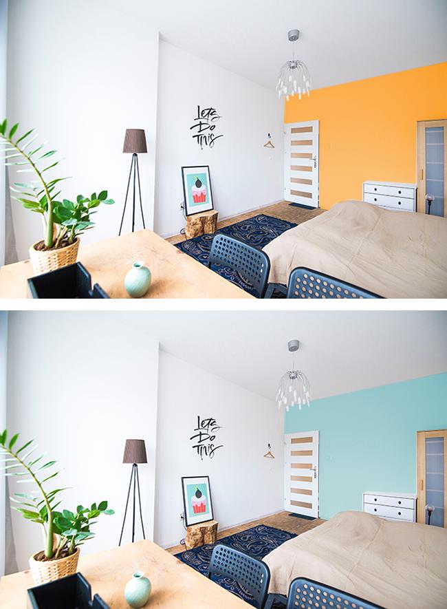 同じ壁をオレンジと水色にした場合の広さ比較