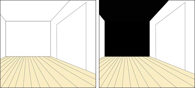 天井と壁の一面を黒の壁紙クロス①