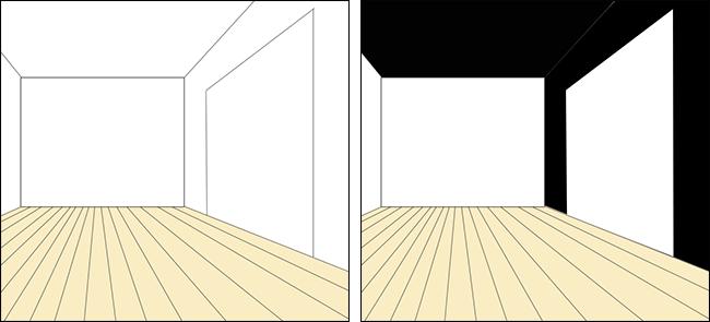 天井と壁の一面を黒の壁紙クロス②