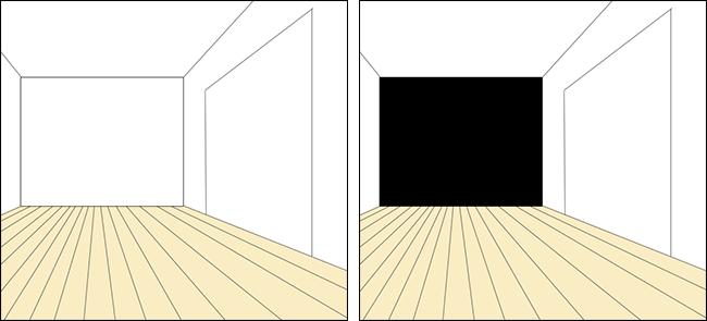 面積が小さい壁を一か所だけ黒