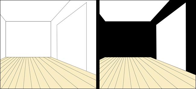 壁の3面を黒の壁紙クロス