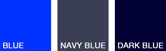 3種類の青の色見本