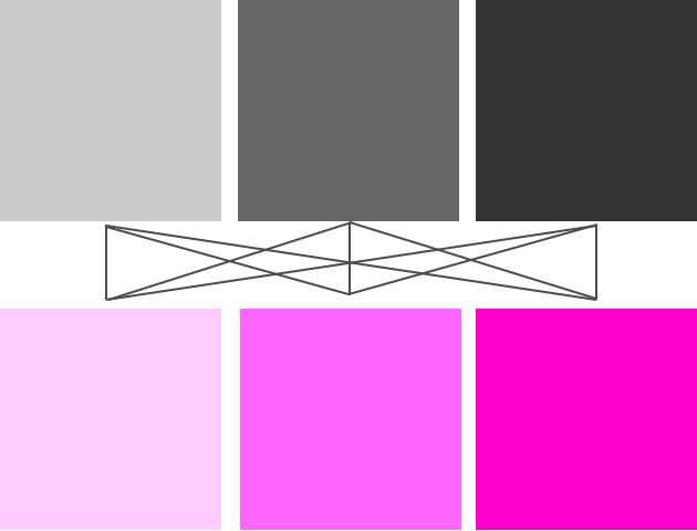 グレーとピンクの組み合わせ例