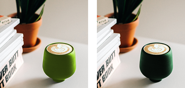 2種類の緑のコーヒーカップの比較