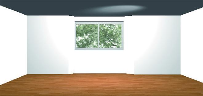 ウィンドウベンチのある部屋の立面図