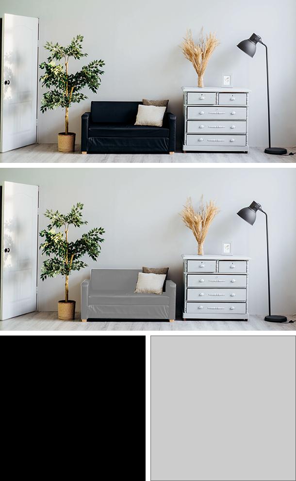 黒と薄いグレーのソファの比較