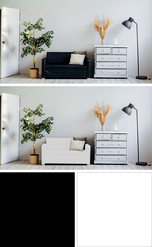 黒と白のソファの比較
