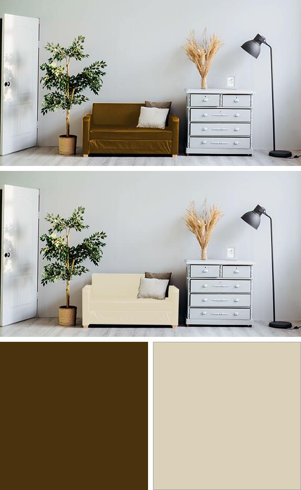 茶色とアイボリーのソファの比較