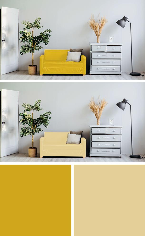 黄色と薄い黄色のソファの比較
