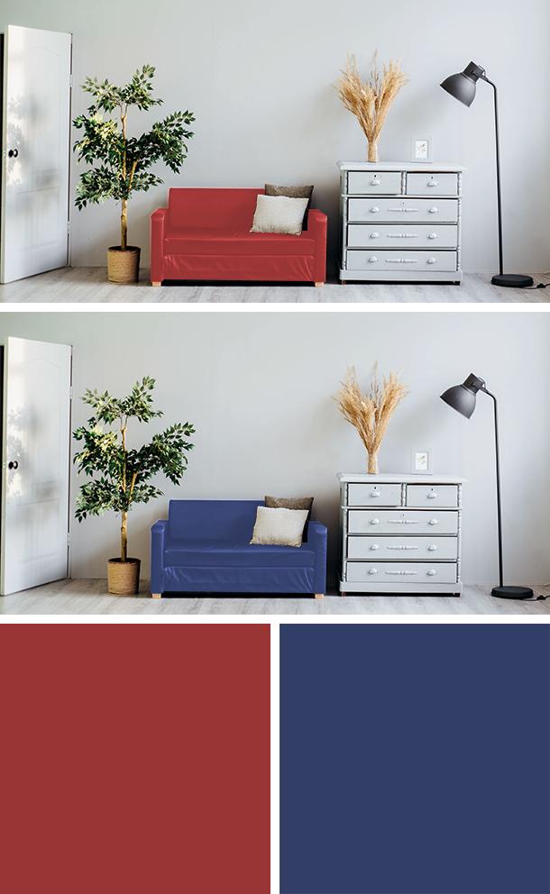 暖色と寒色のソファの比較